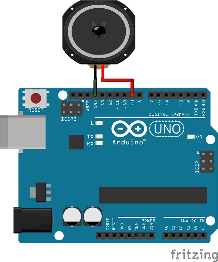 Circuit connecting Arduino and a speaker