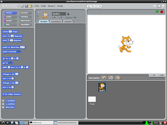 Screenshot of root's X desktop (raspberrypi-1) Scratch