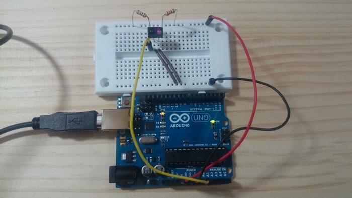 Arduino photoreflector test circuit