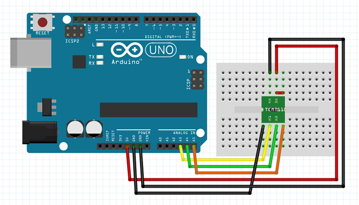 Arduino circuit connected with accelerometer