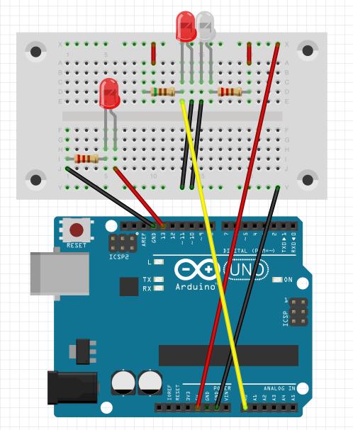 Arduino circuit LED light up based on the photoreflector values
