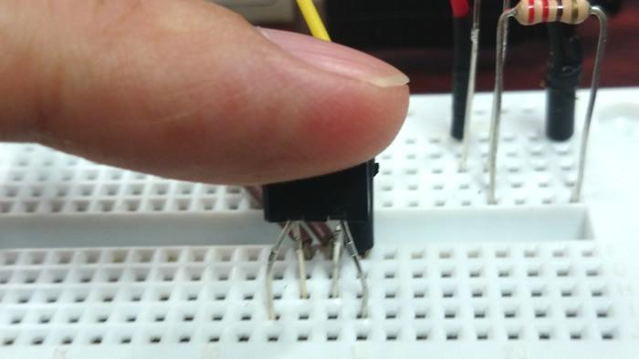 Checking pulse with photoreflector