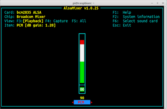 Raspberry Pi Alsa Mixer
