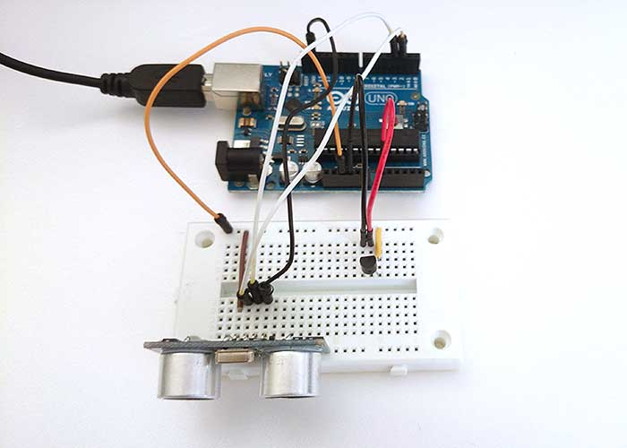 Arduino with ultrasound sensor and temperature sensor