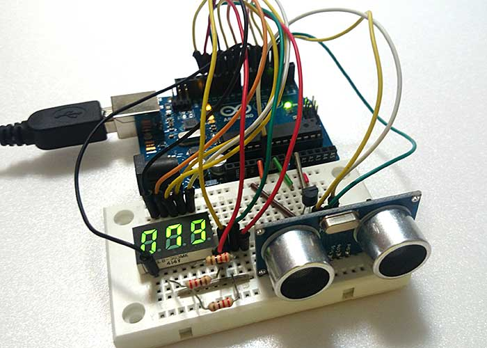 Arduino ultrasound and temperature sensor