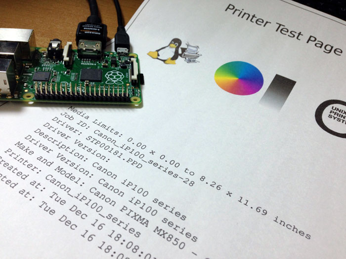Raspberry Pi CUPS printer test page