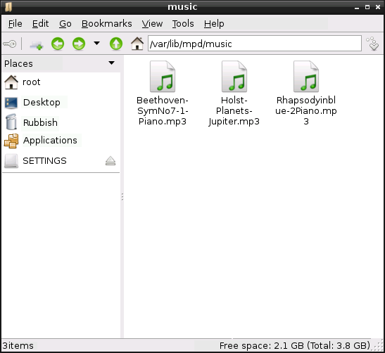Raspberry Pi File Manager Music Folder