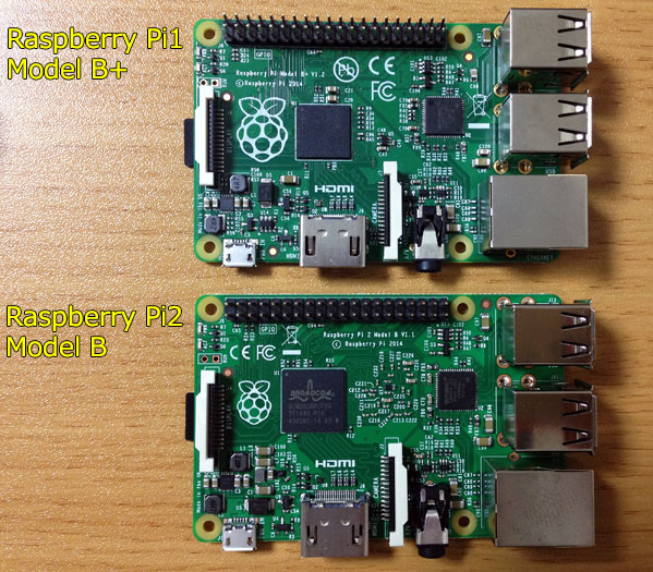 Comparison Raspberry Pi 1 B+ & Raspberry Pi2 B