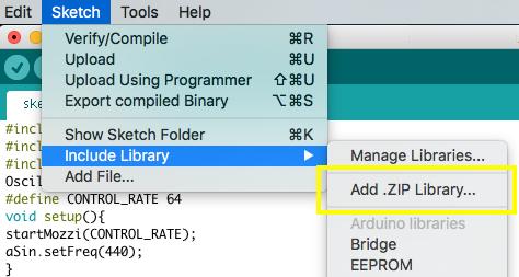 Adding Mozzi Library to Arduino IDE