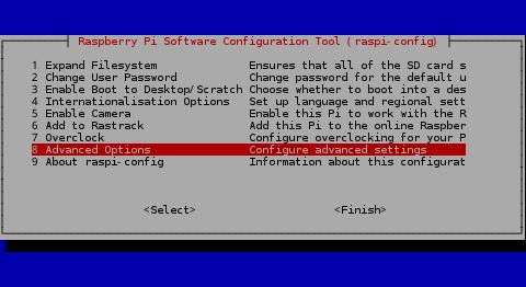 Raspbian Advanced settings options