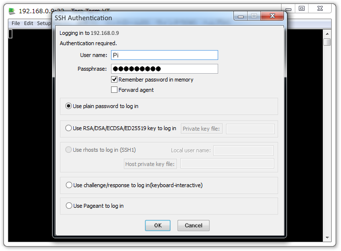 Raspberry Pi Tera Term SSH Authentication