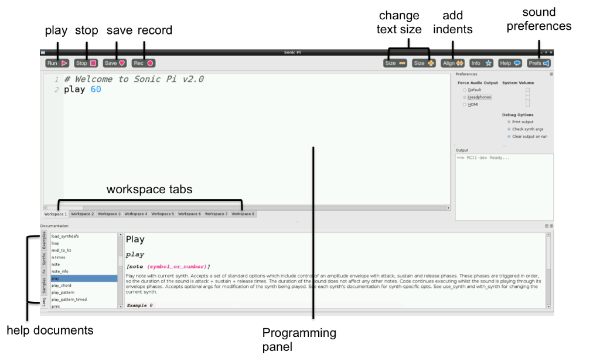 Explanation of Sonic Pi interface