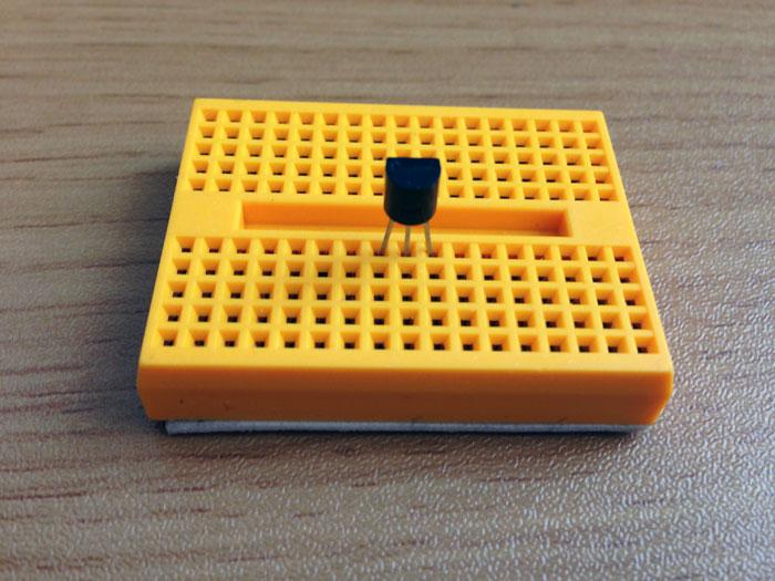 Breadboard with temperature sensor