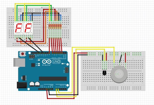 Arduino Stevenson screen temperature sensor humidity sensor 7seg led