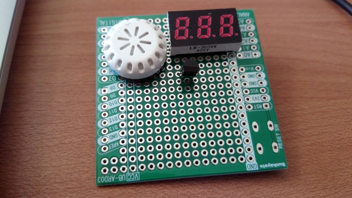 Circuit board with humidity sensor and 7seg LED