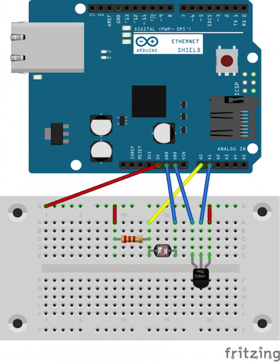 Figure 5: Wiring diagram of temperature & light sensors connected to Ethernet shield