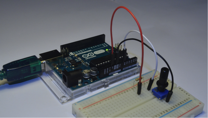 breadboard for arduino bluetooth gloves