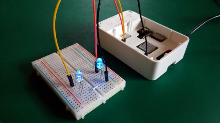 Figure 10. Raspberry Pi controlling two LEDs