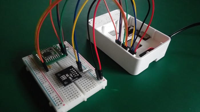 Figure 13. Raspberry Pi connected to SX1278 wireless module and BH1274NUC color sensor