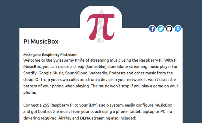 Linking with Spotify via Pi MusicBox - Device Plus
