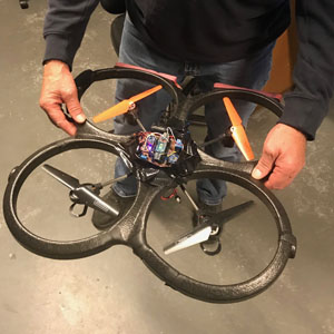 duct-taped in place & ready for 15 meter drop-testing of your drone
