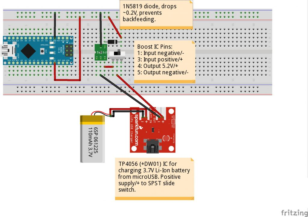 "DIAGRAM_TP4056+SW1+BOOST+DIODE->5V_RAIL->ARDUINO"" class=""wp-image-8214″ width=""512″ height=""361″/><figcaption><br></figcaption></figure>    <h2>ADXL345 Accelerometer</h2>    <p>The ADXL345 accelerometer is very versatile, but you don't want to use interrupts if the Arduino is just using its resources on doing free-fall detection. If you want to include an altimeter in the build, a GPS, and/or a microSD IC for datalogging, then you'll want to use interrupts. This code also lets you use any accelerometer you want, by simply switching library. Conceptually, it's only the matter of reliably detecting the free-fall condition and reacting to it. The ADXL345 takes 2-3.6V on VCC, and when using it in I2C mode, you must pull the CS pin HIGH to 3V3 across a 10K ohm resistor. While you can often trust Google in technical matters, you can trust a level-shifter much more, so you should definitely level-shift the SDA and SCL signals to/from the Arduino Nano. Don't worry; it's easy, as the level-shifter used here just takes 5V on its HV pin, 3V3 on its 3V3 pin, and beyond that it's just a matter of wiring up pins A4 (SDA) and A5 (SCL) to HV1 and HV2, respectively. On the other side, connect LV1 to SDA on the ADXL345, and LV2 to SCL. Works like a charm, and who's to say those pins are as 5V tolerant as some would have you believe? Remember to use 4700-ohm pull-up resistors between both A4 and A5 to 5V on the Arduino itself; omitting this may lead to some tragic changes to your love of tech.<br></p>    <figure class="
