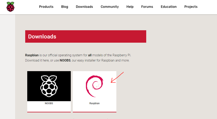 Download Raspbian operating system for Pi
