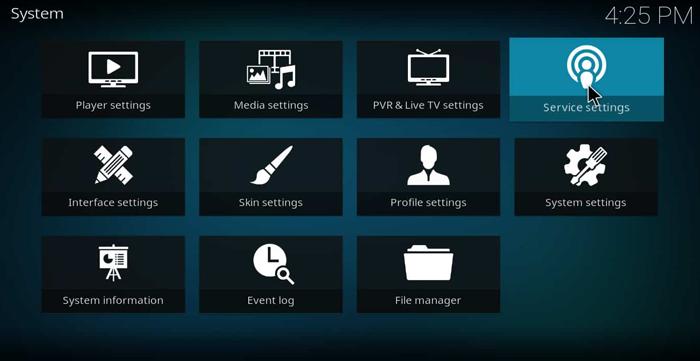 Kodi service settings