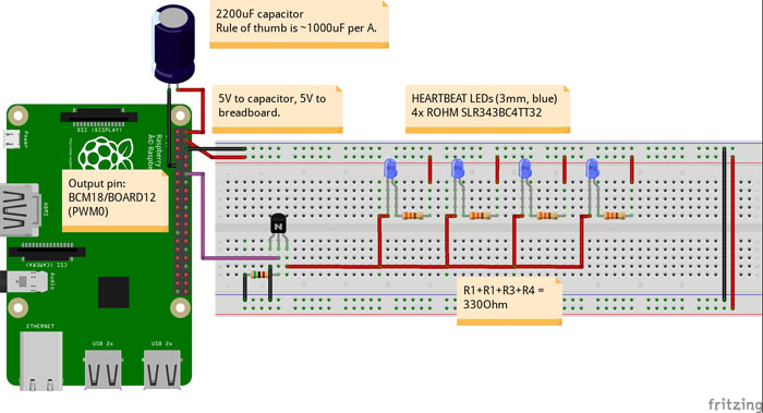 LED heartbeat diagram