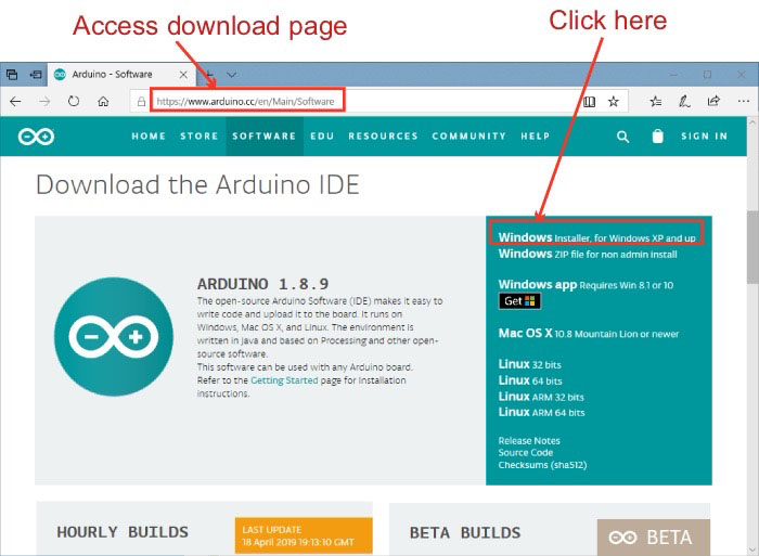 access Arduino download page
