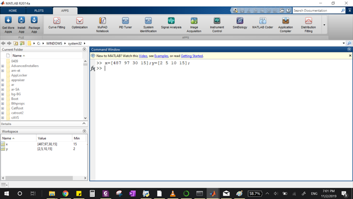 MATLAB command window
