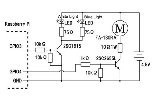 circuit turns a motor